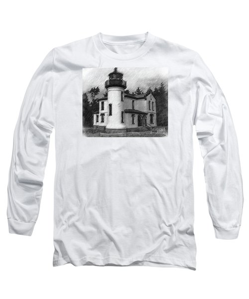 Admiralty Head Lighthouse Sketched Long Sleeve T-Shirt by Kirt Tisdale