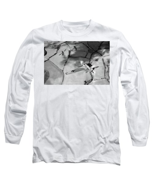 Long Sleeve T-Shirt featuring the photograph Adolf Galland Attacking Spitfire Bw Version by Gary Eason