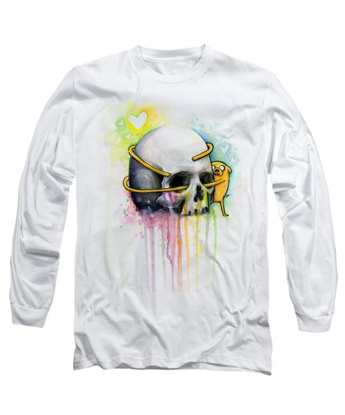 Adventure Time Jake Hugging Skull Watercolor Art Long Sleeve T-Shirt