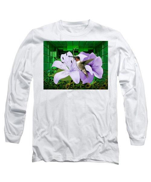 Long Sleeve T-Shirt featuring the mixed media Aeronautics Humming Bird by Marvin Blaine