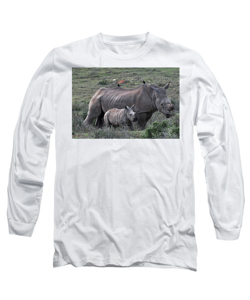 African White Rhino And Calf Long Sleeve T-Shirt