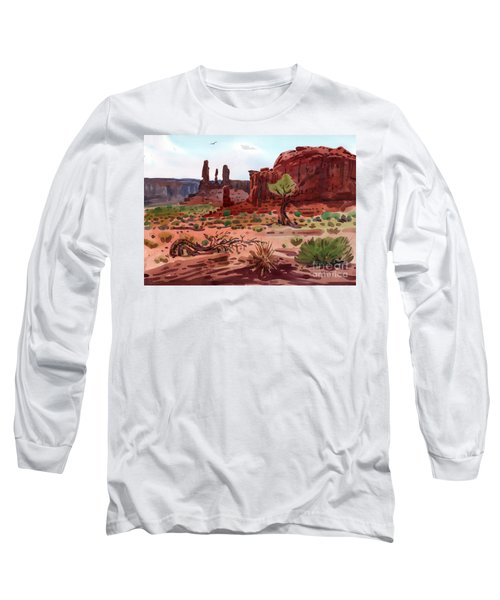 Afternoon In Monument Valley Long Sleeve T-Shirt by Donald Maier