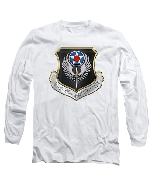 Air Force Special Operations Command -  A F S O C  Shield Over White Leather Long Sleeve T-Shirt by Serge Averbukh