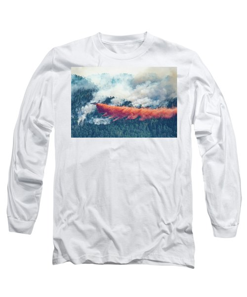 Long Sleeve T-Shirt featuring the photograph Air Tanker On Crow Peak Fire by Bill Gabbert