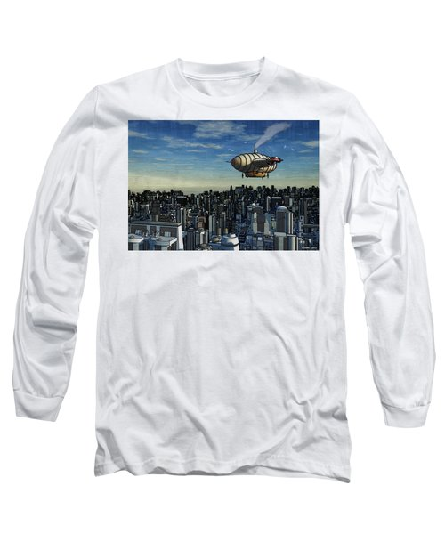 Airship Over Future City Long Sleeve T-Shirt by Ken Morris
