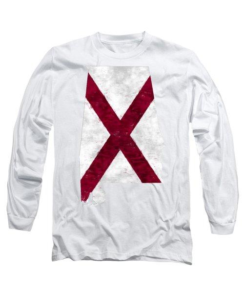 Alabama Map Art With Flag Design Long Sleeve T-Shirt