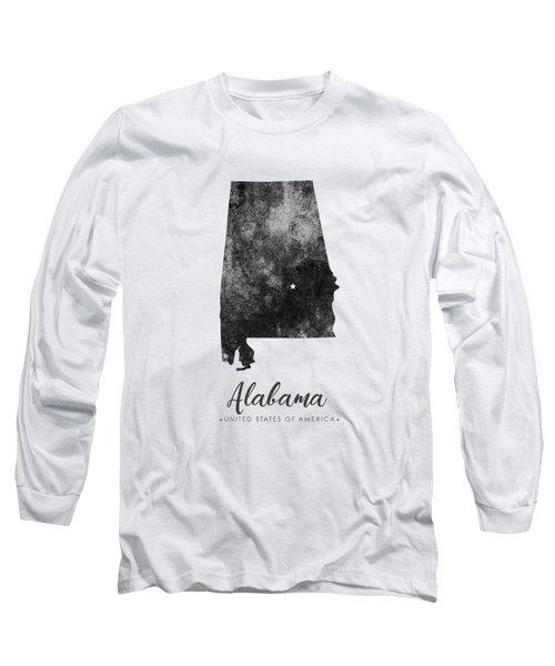 Alabama State Map Art - Grunge Silhouette Long Sleeve T-Shirt
