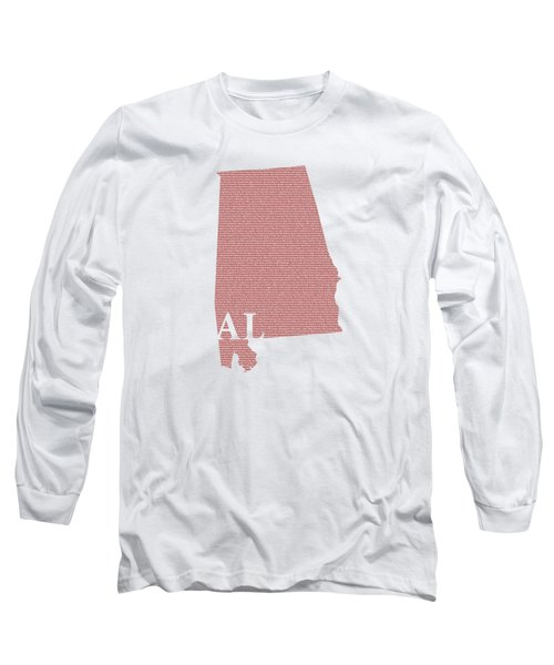 Alabama State Map With Text Of Constitution Long Sleeve T-Shirt