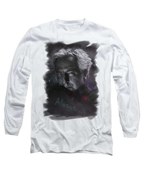 Long Sleeve T-Shirt featuring the drawing Alan Rickman by Julia Art