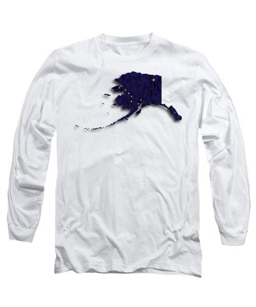 Alaska Map Art With Flag Design Long Sleeve T-Shirt