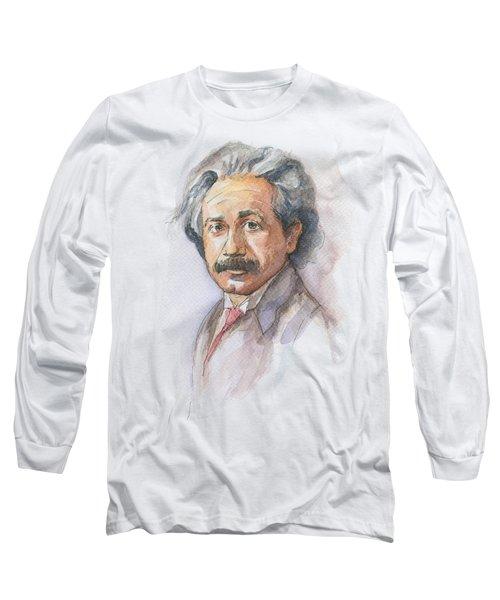 Albert Einstein Long Sleeve T-Shirt by Olga Shvartsur