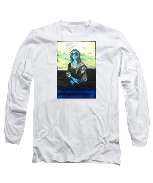 Long Sleeve T-Shirt featuring the painting alien Mona Lisa by Similar Alien