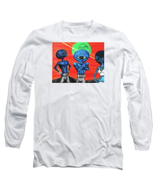 Long Sleeve T-Shirt featuring the painting Alien Posse by Similar Alien