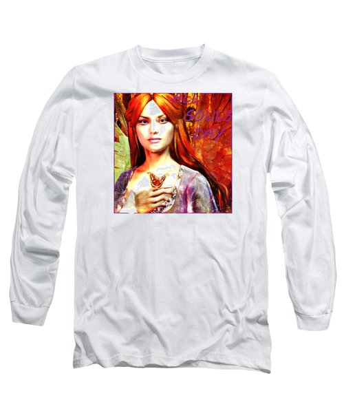 Long Sleeve T-Shirt featuring the painting All Souls Day Angel by Suzanne Silvir