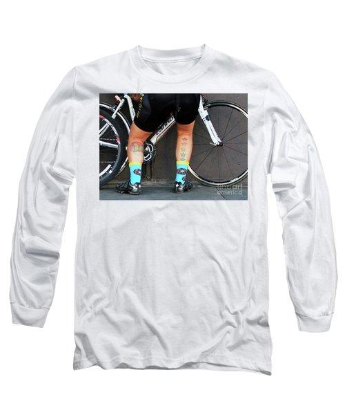 Long Sleeve T-Shirt featuring the photograph All Star Cyclist by Joe Jake Pratt