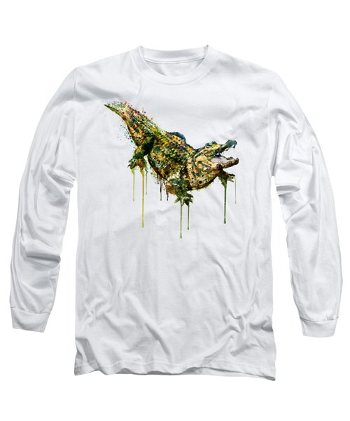 Alligator Watercolor Painting Long Sleeve T-Shirt by Marian Voicu
