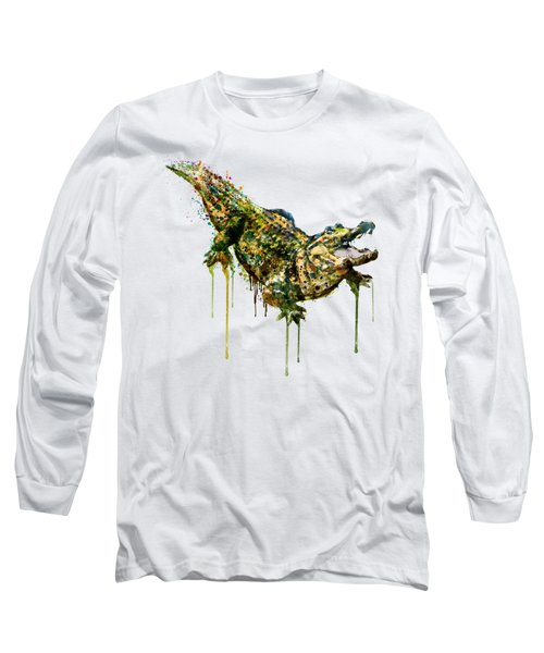 Alligator Watercolor Painting Long Sleeve T-Shirt