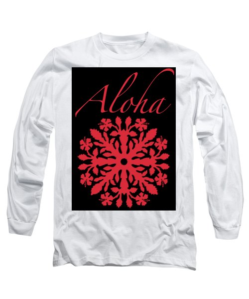 Aloha Red Hibiscus Quilt T-shirt Long Sleeve T-Shirt by James Temple