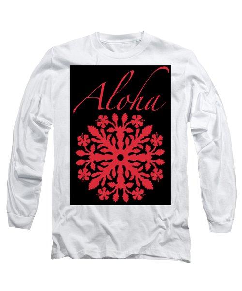 Aloha Red Hibiscus Quilt T-shirt Long Sleeve T-Shirt