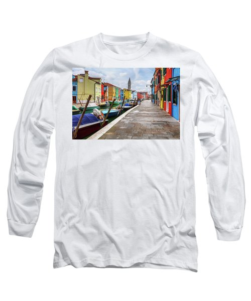 Along The Canal In Burano Island Long Sleeve T-Shirt