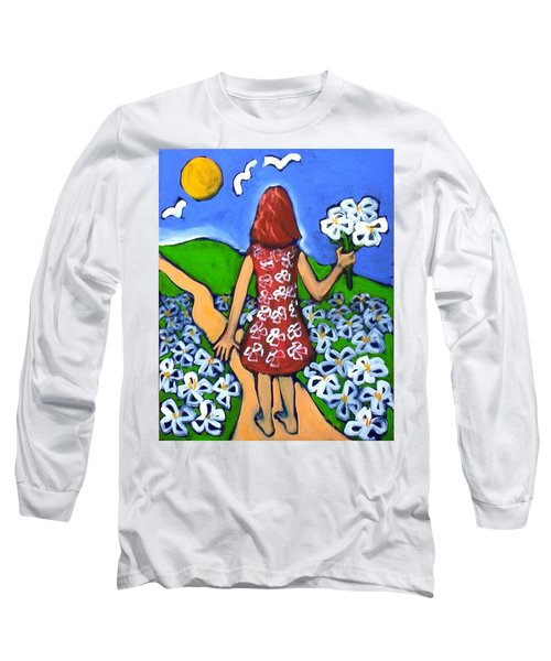 Long Sleeve T-Shirt featuring the painting Along The New Path by Winsome Gunning