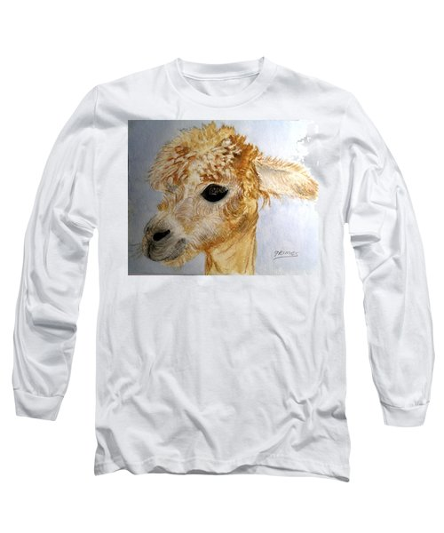Long Sleeve T-Shirt featuring the painting Alpaca Cutie by Carol Grimes