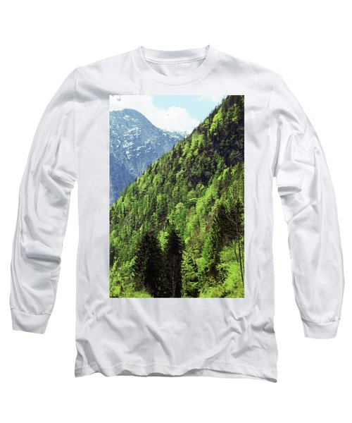 Alpine View In Green Long Sleeve T-Shirt