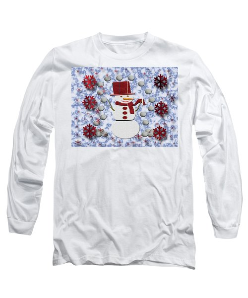 Long Sleeve T-Shirt featuring the photograph Alto Cheerful Snowman by Rockin Docks Deluxephotos