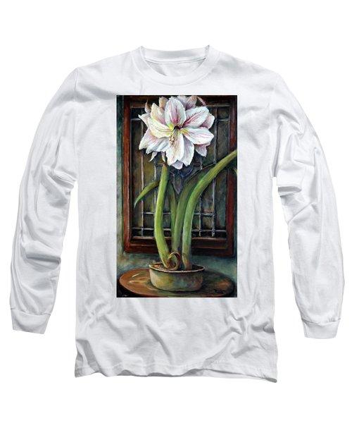 Amaryllis In The Window Long Sleeve T-Shirt by Bernadette Krupa