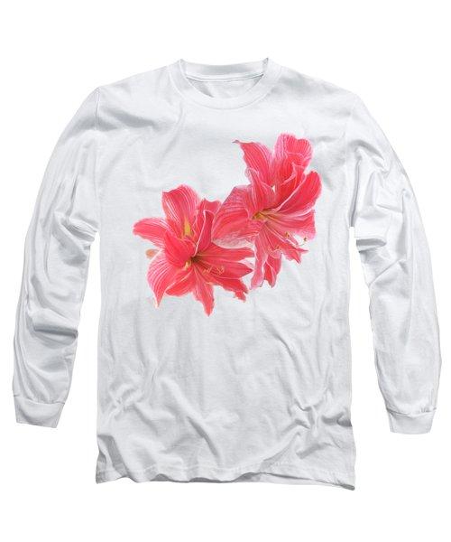 Amaryllis On White Long Sleeve T-Shirt