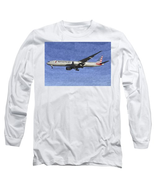 American Airlines Boeing 777 Aircraft Art Long Sleeve T-Shirt
