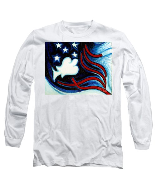 Long Sleeve T-Shirt featuring the painting American Dove by Genevieve Esson