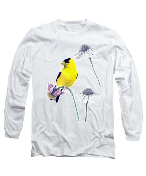 American Goldfinch On Coneflowers Long Sleeve T-Shirt