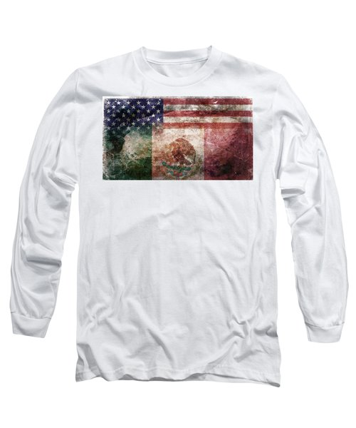 American Mexican Tattered Flag  Long Sleeve T-Shirt