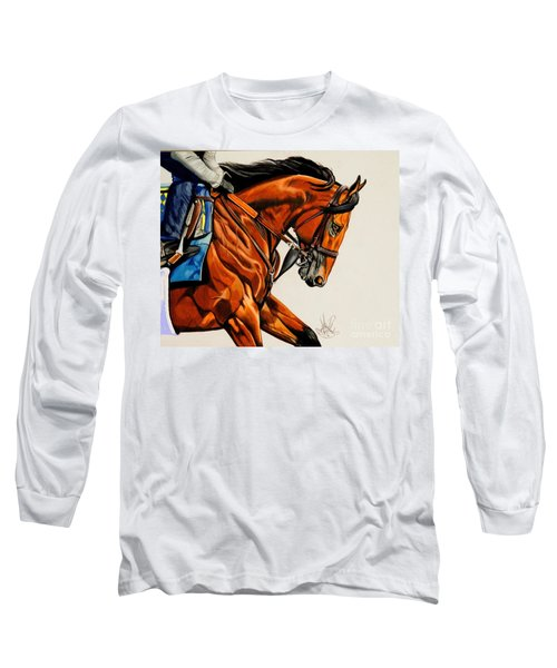 American Pharoah - Triple Crown Winner In White Long Sleeve T-Shirt