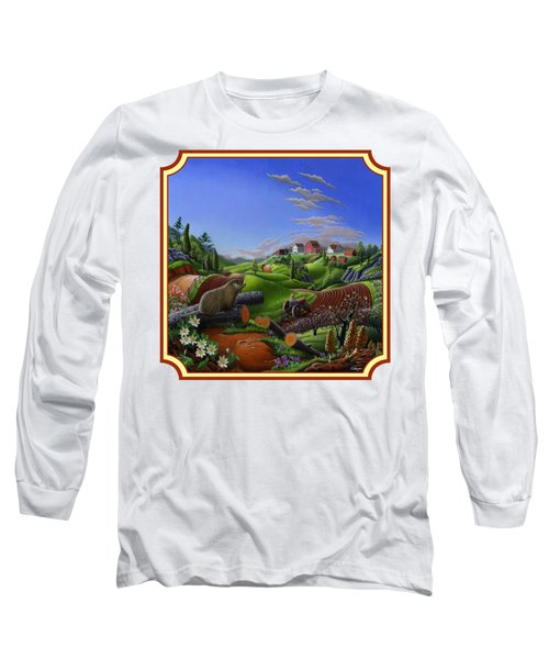 Americana Decor - Springtime On The Farm Country Life Landscape - Square Format Long Sleeve T-Shirt by Walt Curlee