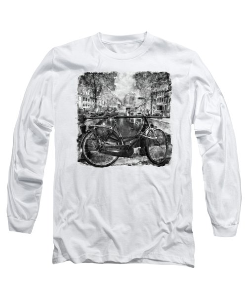 Amsterdam Bicycle Black And White Long Sleeve T-Shirt