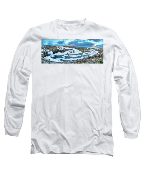 An Icy Waterfall Panorama During Sunrise In Iceland Long Sleeve T-Shirt by Joe Belanger