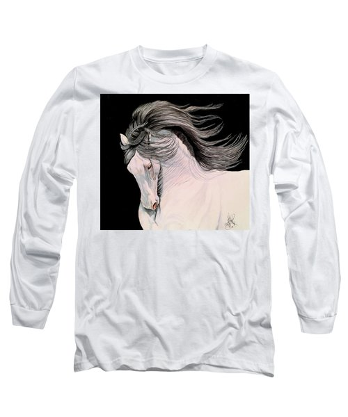 Andalusian In Color Pencil Long Sleeve T-Shirt by Cheryl Poland