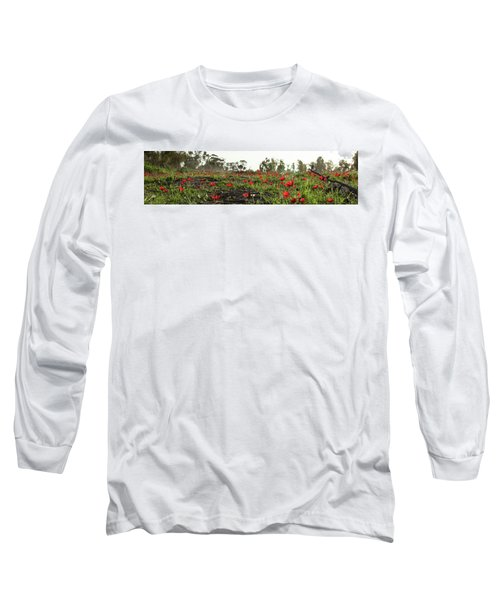 Long Sleeve T-Shirt featuring the photograph Anemones Forest Panorama by Yoel Koskas