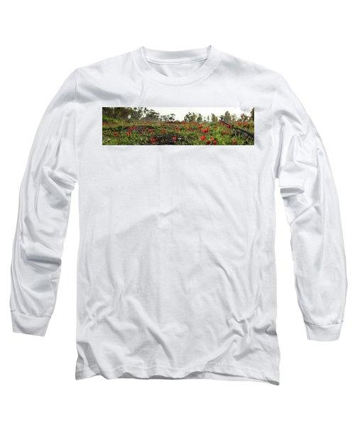 Anemones Forest Panorama Long Sleeve T-Shirt by Yoel Koskas