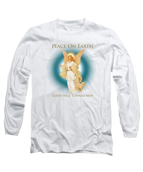 Angel On Blue Long Sleeve T-Shirt