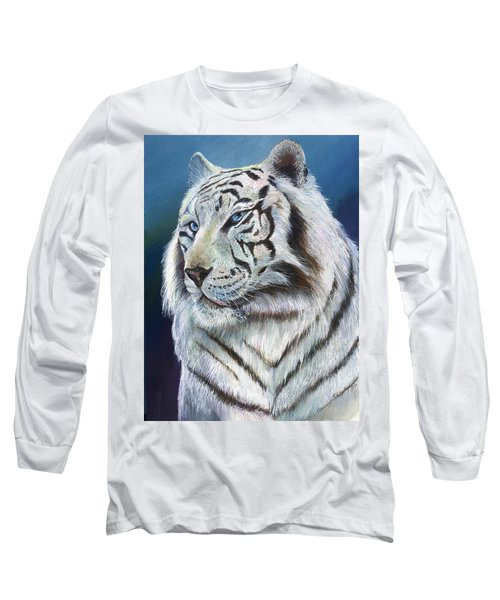 Long Sleeve T-Shirt featuring the painting Angel The White Tiger by Sherry Shipley