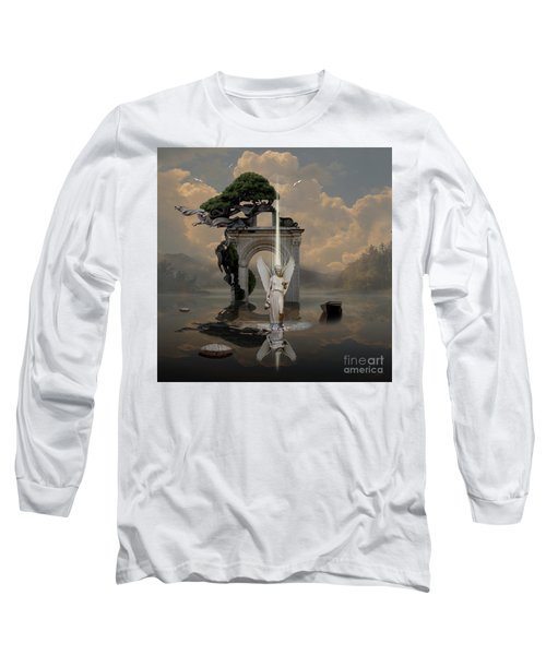 Long Sleeve T-Shirt featuring the digital art Angel With Life Elixir by Alexa Szlavics
