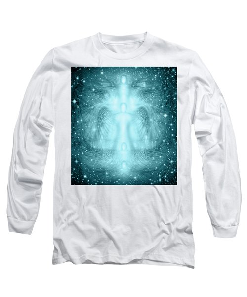 Angels Starry Night Background Long Sleeve T-Shirt by James Larkin