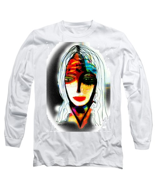 Long Sleeve T-Shirt featuring the mixed media Angie by Ann Calvo