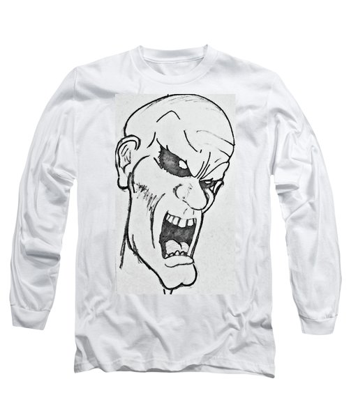 Long Sleeve T-Shirt featuring the drawing Angry Cartoon Zombie by Yshua The Painter