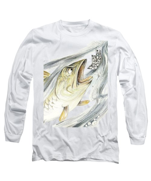 Angry Fish Ready To Swallow Tin Soldier's Paper Boat - Horizontal - Fairy Tale Illustration Fragment Long Sleeve T-Shirt by Elena Abdulaeva