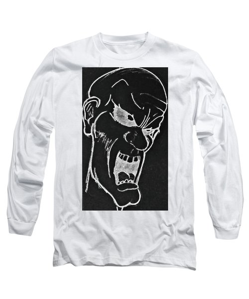 Long Sleeve T-Shirt featuring the drawing Angry Zombie In Negative by Yshua The Painter