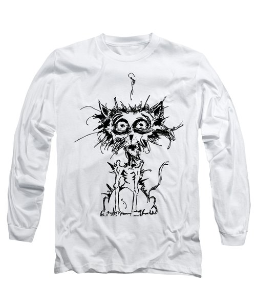 Angst Cat Long Sleeve T-Shirt by Nicholas Ely